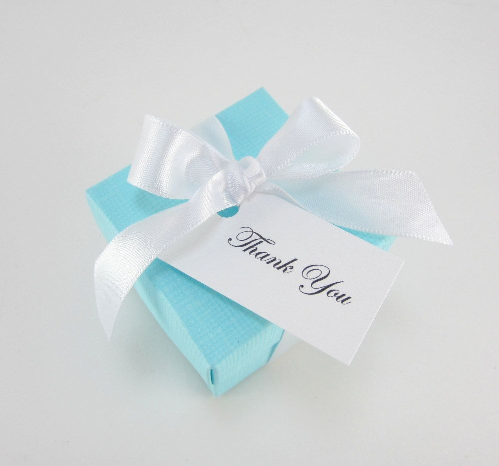 Tiffany Blue Favor Boxes with Ribbon and Tag Set of 25 Ready to ship ...