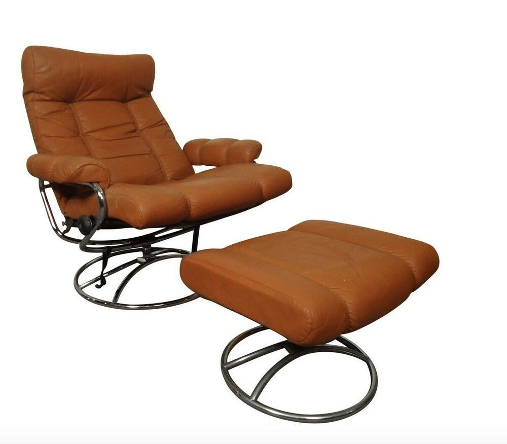 Details about vtg 70s ekornes mid century orange leather
