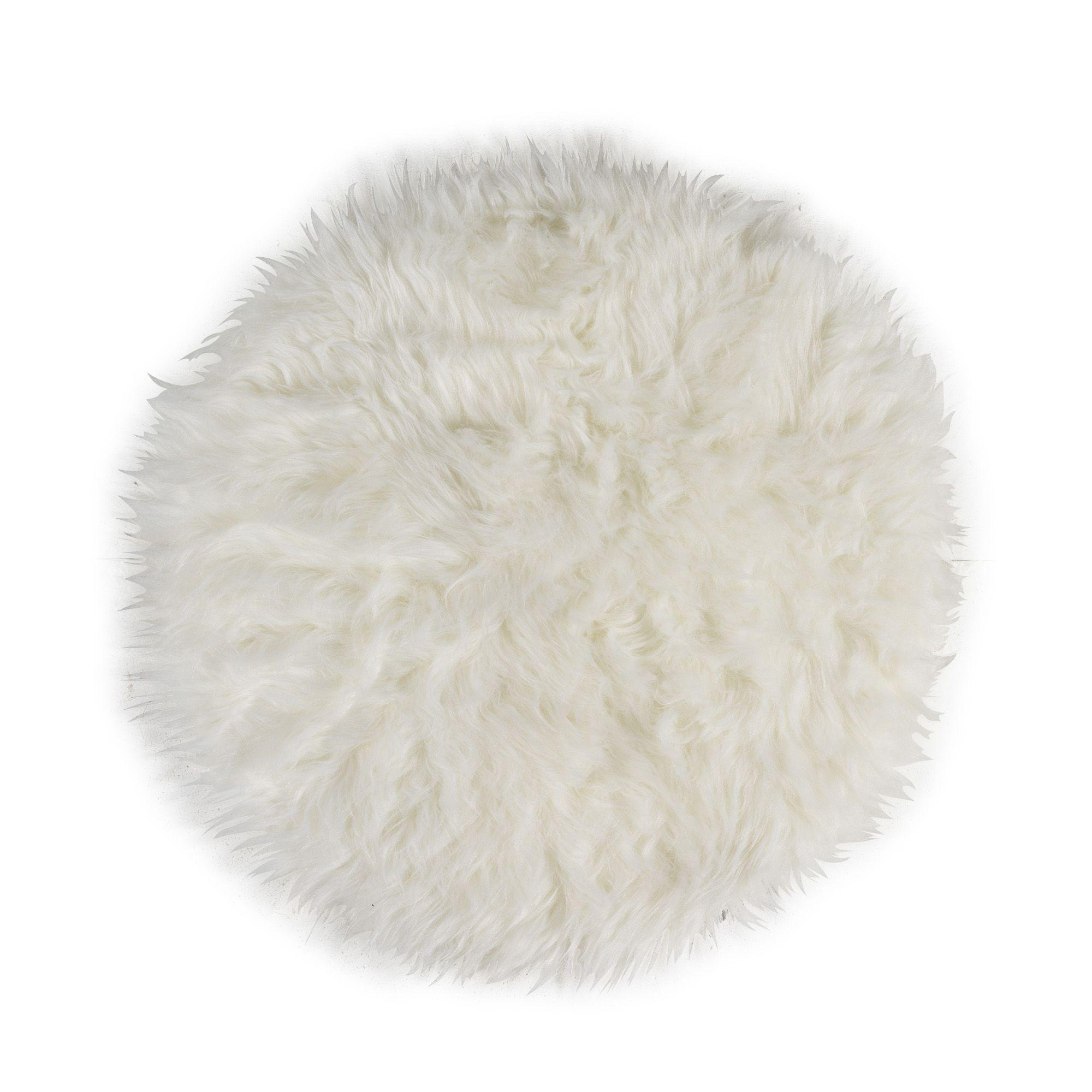 Tapis Long Poil Blanc tapis rond à poils longs blanc 70cm blanc - flokati - les