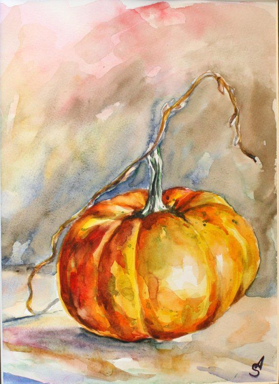 Original watercolor hand painting still life Pumpkin colorful kitchen wall art wall decor artwork housewarming Halloween Thanksgiving print