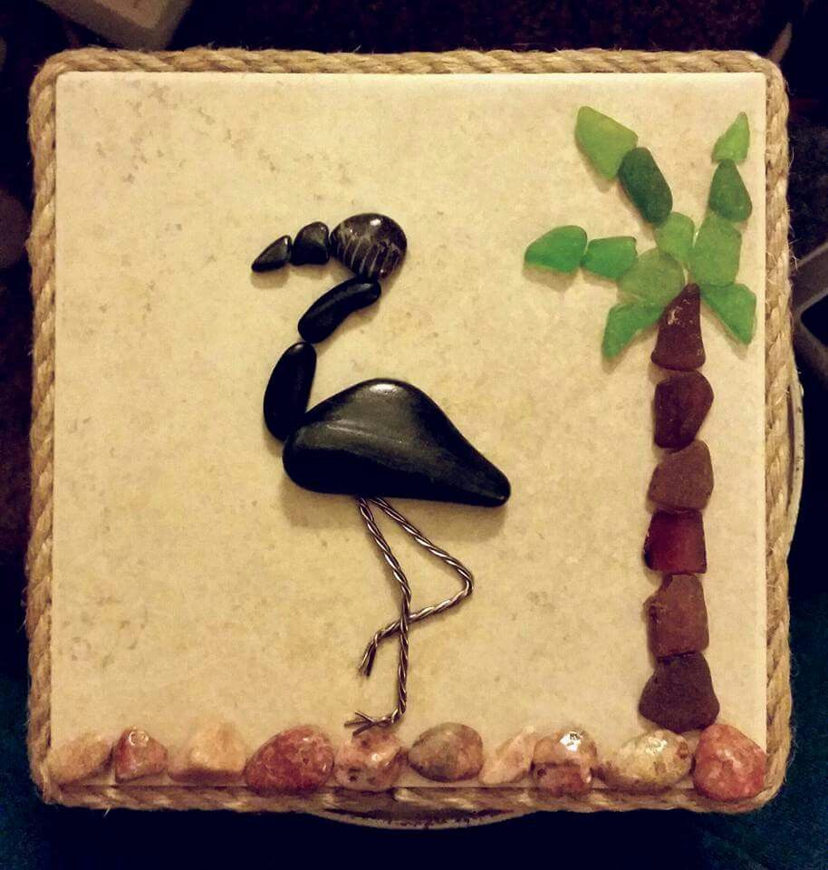 Pebbles wire beach glass flamingo on a 6x6 floor tile one of pebbles wire beach glass flamingo on a 6x6 floor tile one dailygadgetfo Image collections