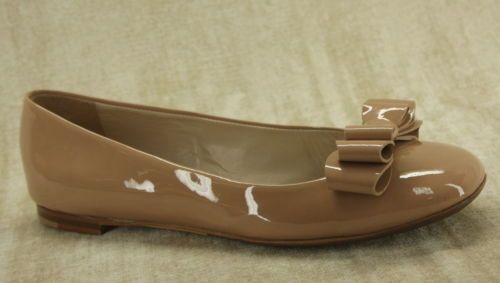3bb5ba921eff00 Flats · AGL Attilio Giusti Leombruni Nude Patent Bow Ballerina Flat Shoe  size 38.5   8  160