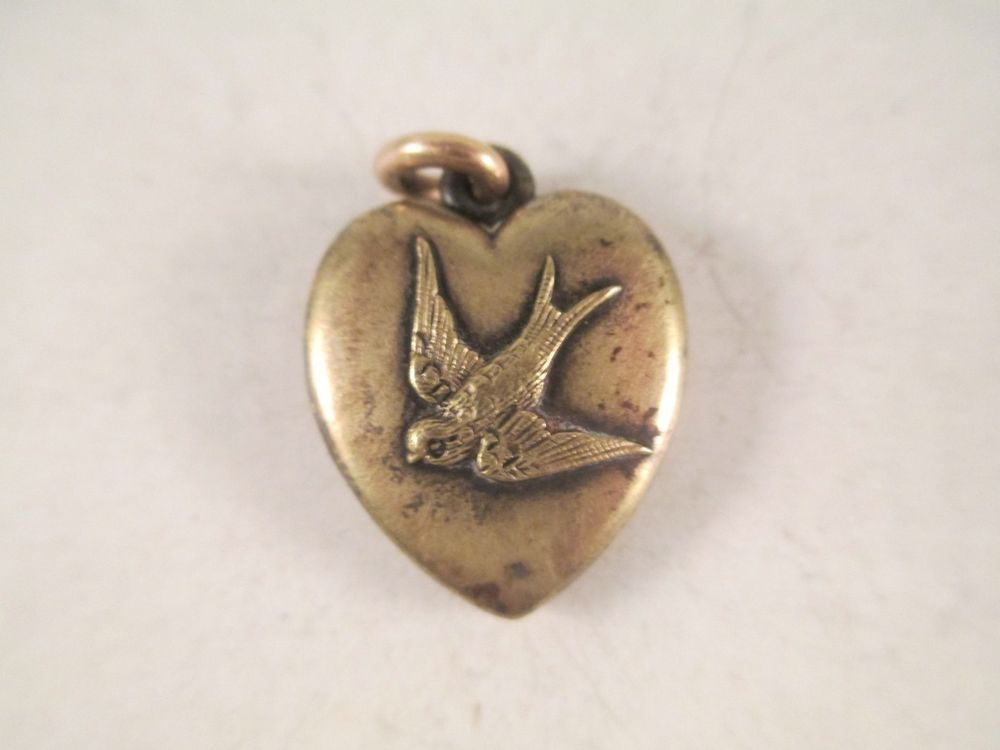 Vintage Antique Victorian Swallow Love Bird Sweetheart Locket Necklace Pendant