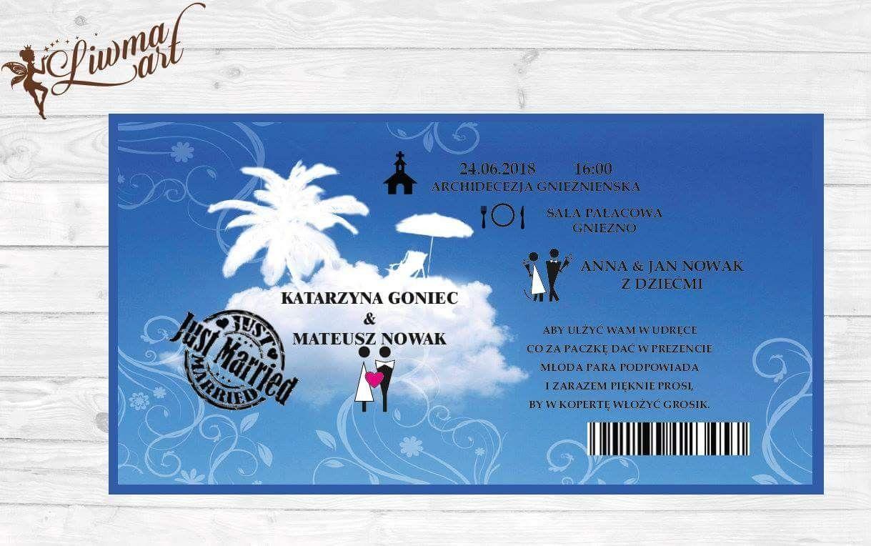 Zaproszenia Slubne Bilet Na Noc Podrozna Weddingstyle Weddingcard