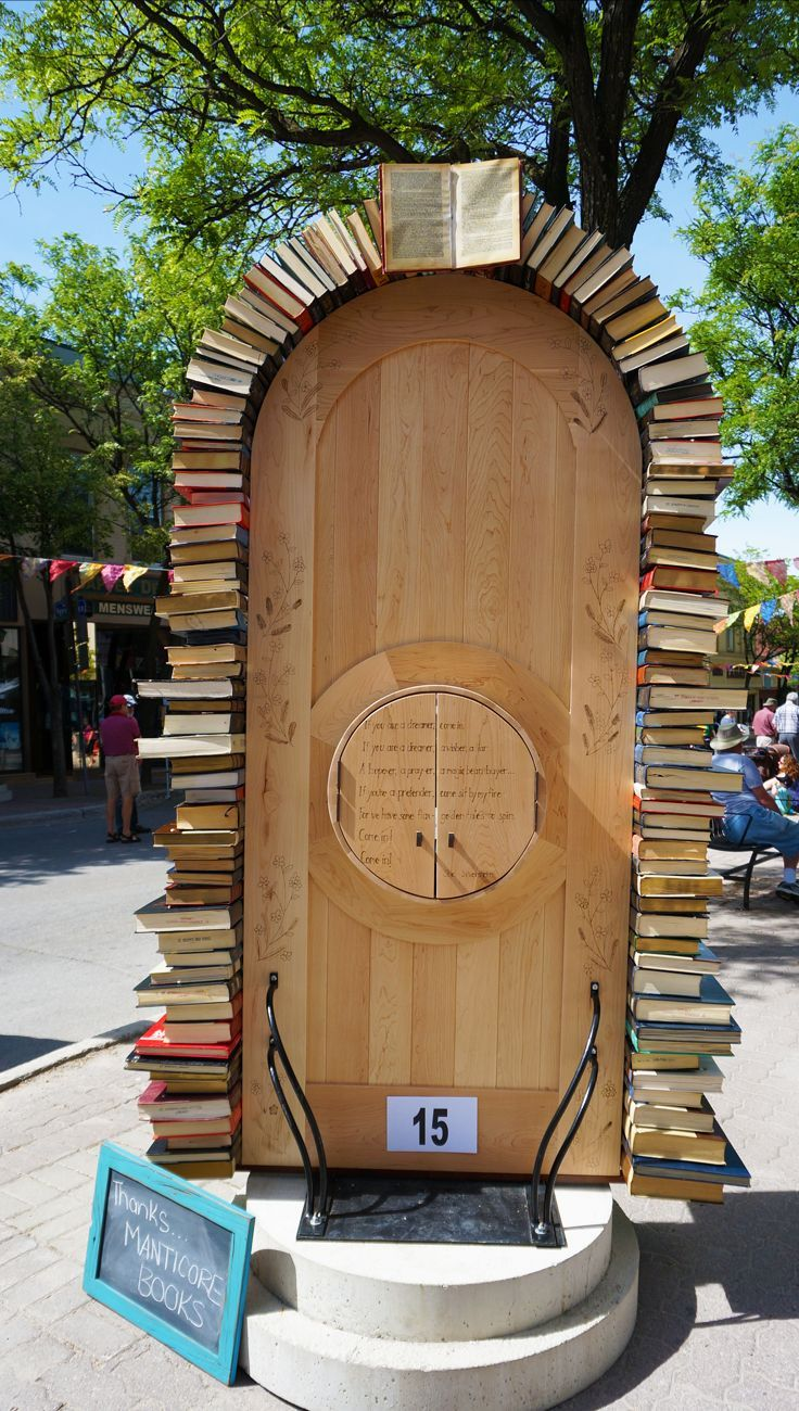 """Door of knowledge - and it's also a """"Little Library!"""" Streets alive project in Orillia Ontario is in full swing. The local street art project features the """"Doors of Orillia"""" and includes this inspiring door which doubles as a free library!:"""