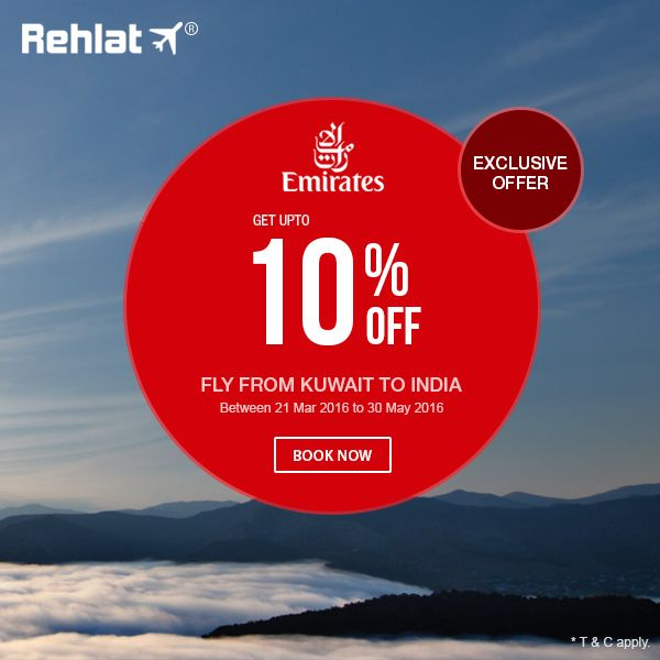 Get 10% off on all Emirates Airline bookings from Kuwait to