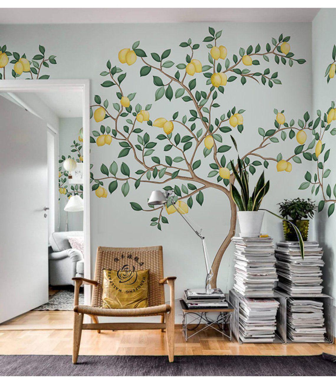 Abstract Watercolor Hand Painted Lemon Trees Wallpaper Wall