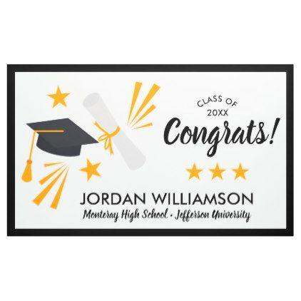 congrats graduate diploma cap graduation party banner in 2018 girl