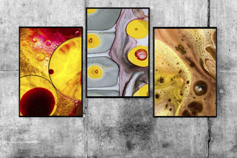 Splash Print, Abstract Print, Sen of 3, Fluid Art, Acrylic Pour ...