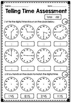 Telling Time Assessment - Quarter Hour, Half Hour, Hour ...