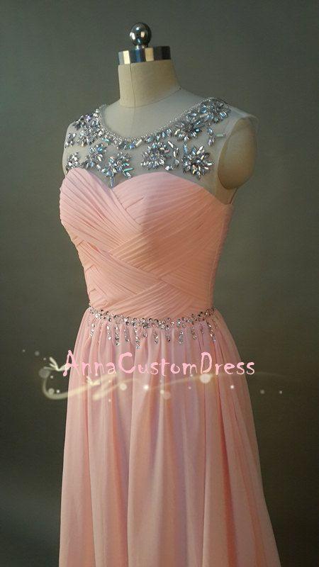 Long Blush Pink Bead Prom Dress Straps A Line Chiffonhomecoming