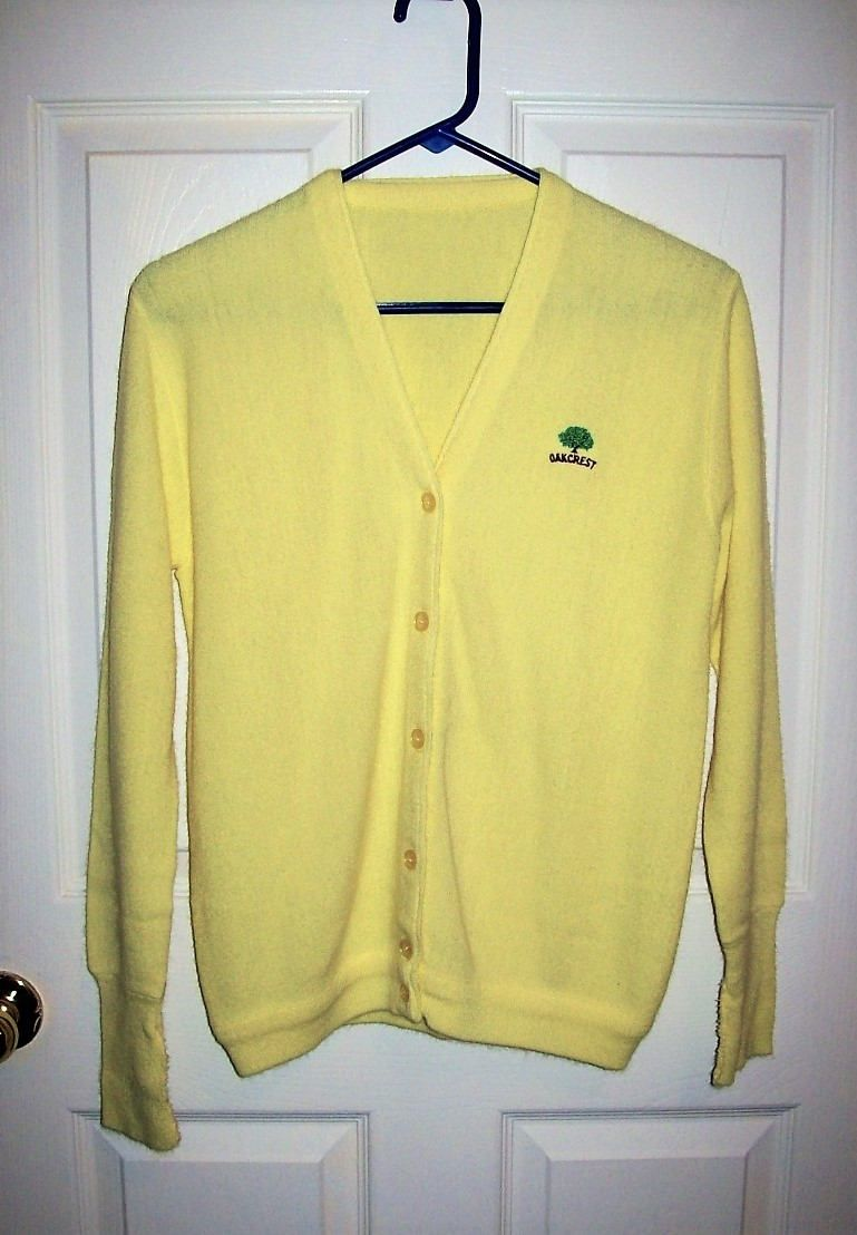 Vintage 1960s Ladies Yellow Cardigan Golf Sweater Oakcrest Logo ...