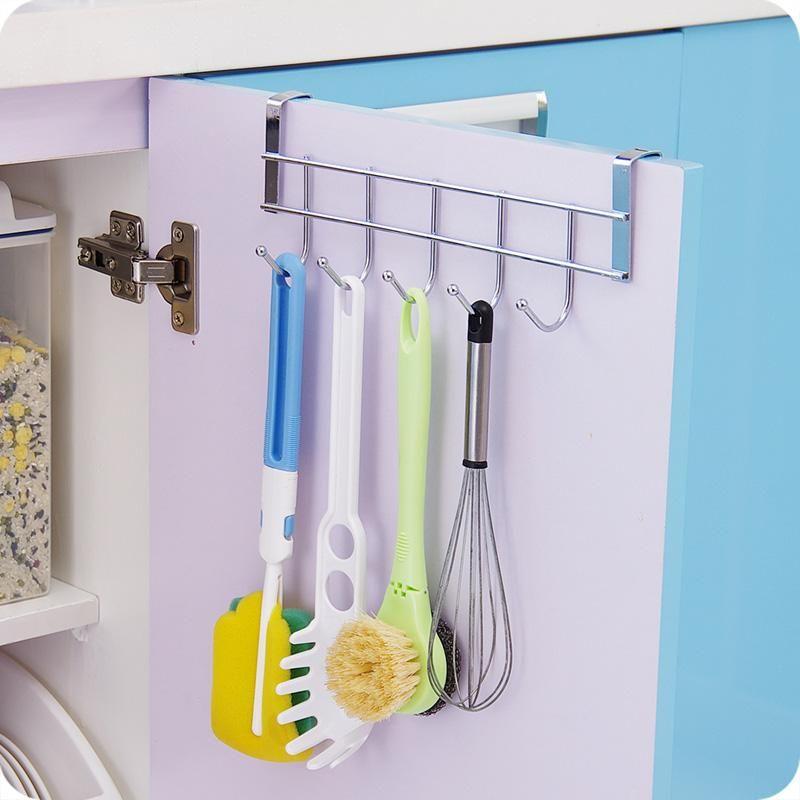 FoodyMine 5 Hooks Home Bathroom Kitchen Hat Towel Hanger Over Door Hanging  Rack Holder