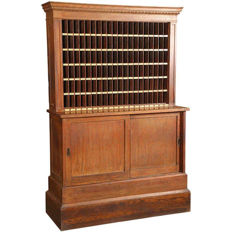 Antique, Industrial Wooden Hotel Telegram Storage Cabinet Hutch Hall Stand