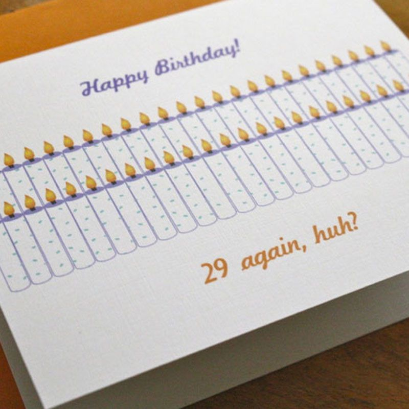 29th Birthday Again Card TheAlchemyShop