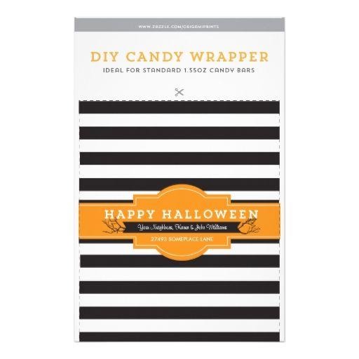 DIY Custom Halloween 1.55oz Candy Bar Template Personalized Flyer