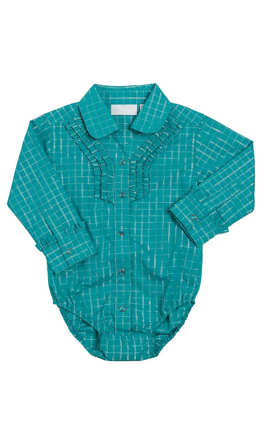 b22140b39 All Around Baby by Wrangler Girl's Turquoise with Silver Lurex Check  Bodysuit Western Baby Clothes,