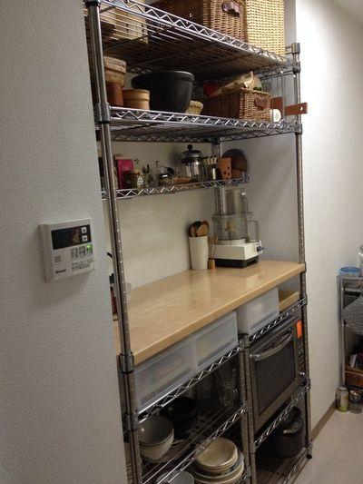 キッチンの棚 狭いキッチン 収納 賃貸キッチン メタルラック キッチン