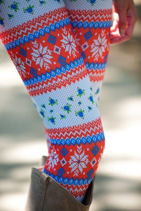 Red/Blue Fair Isle Flower Leggings