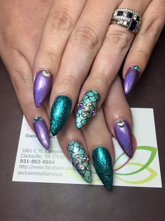 Mermaid nails | fingers and toes | Pinterest | Diseños de uñas, Arte ...