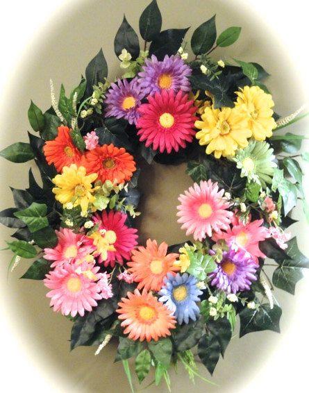 Gerber Daisy Delight  Front Door Wreath by MarysBluebirdWreaths, $74.95
