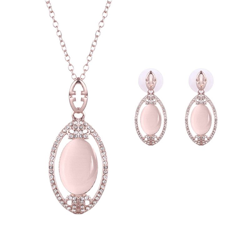 Elegant Pink Opal Crystal Earrings Rose Gold Color Necklaces Opals