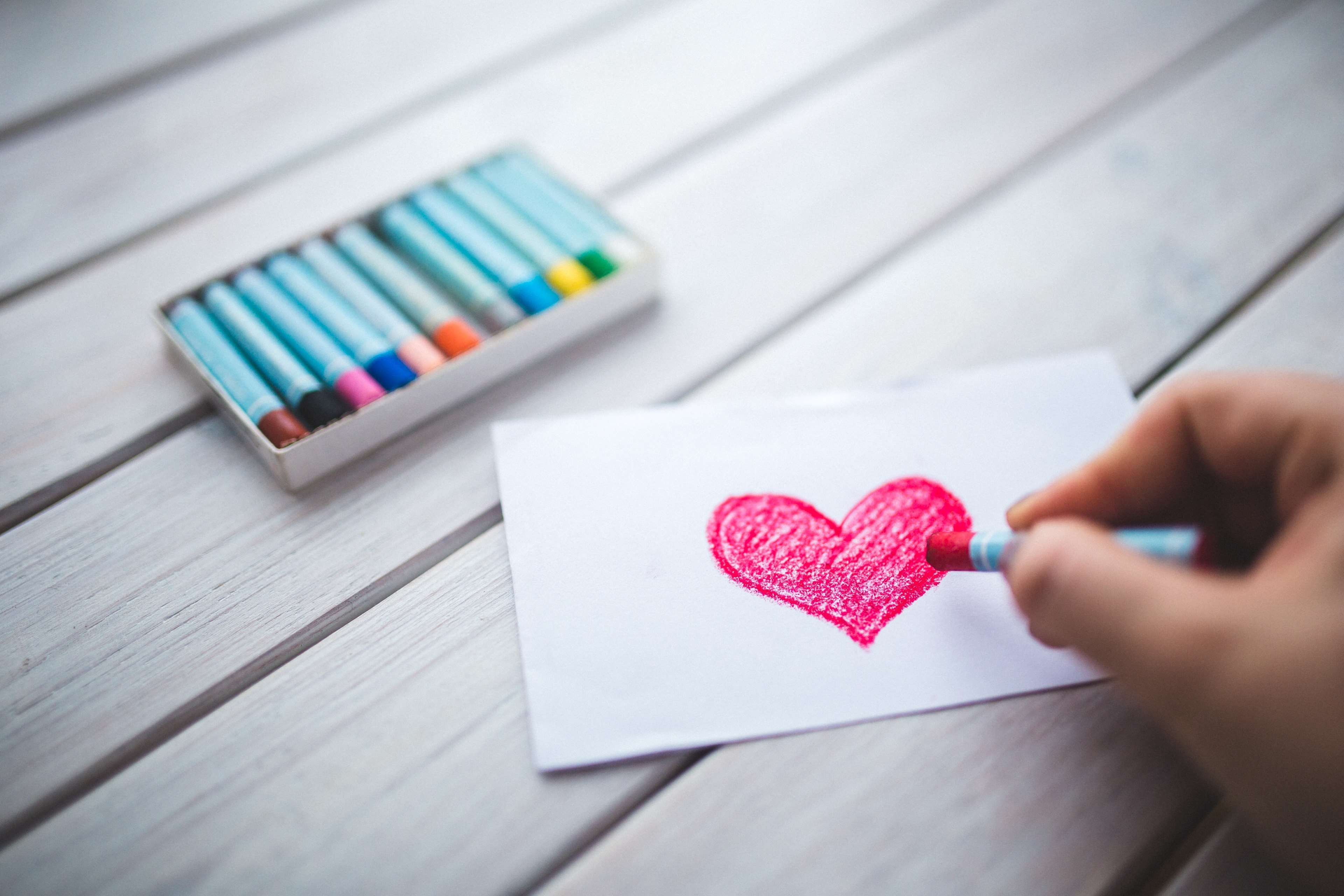 #art #art materials #card #color #crayon #drawing #hand #heart #letter #love #pastel #romance #romantic #valentines day