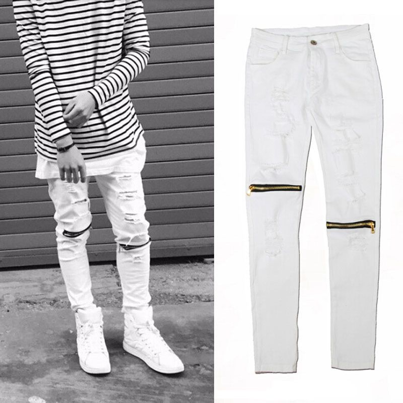 Online Shop ripped jeans for men skinny Distressed slim famous ...