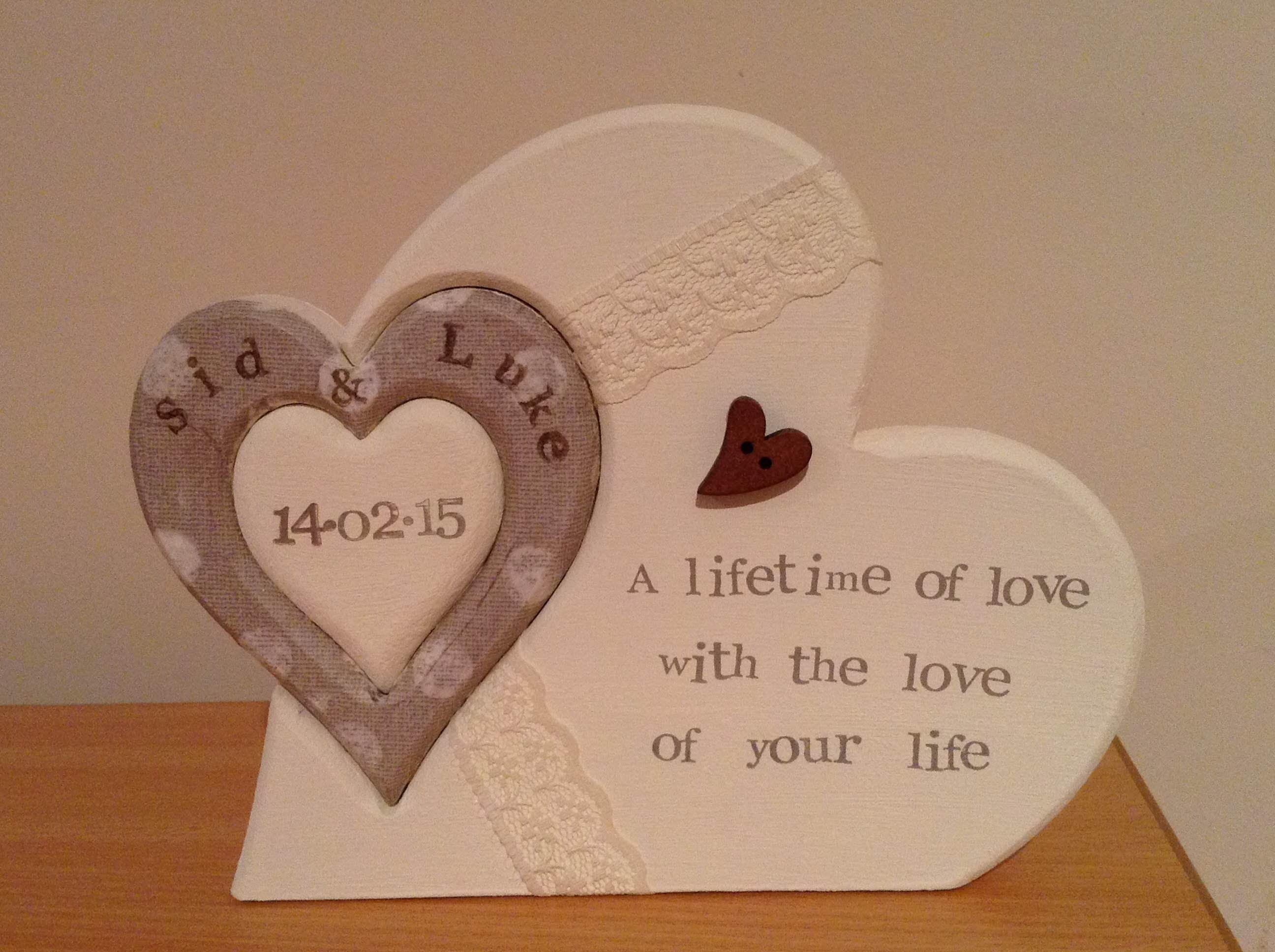can request wedding colours Hand-made personalised wedding hearts card