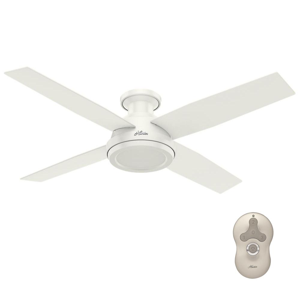 Hunter Dempsey 52 In Low Profile No Light Indoor Fresh White Ceiling Fan 59248 Ceiling Fan White Ceiling Fan