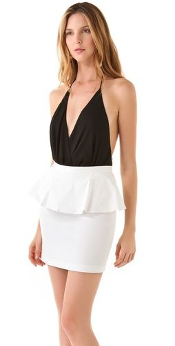Black and white, peplum, and oh-so-sexy! This dress is perfect for date night or night out on the town! #alice+olivia