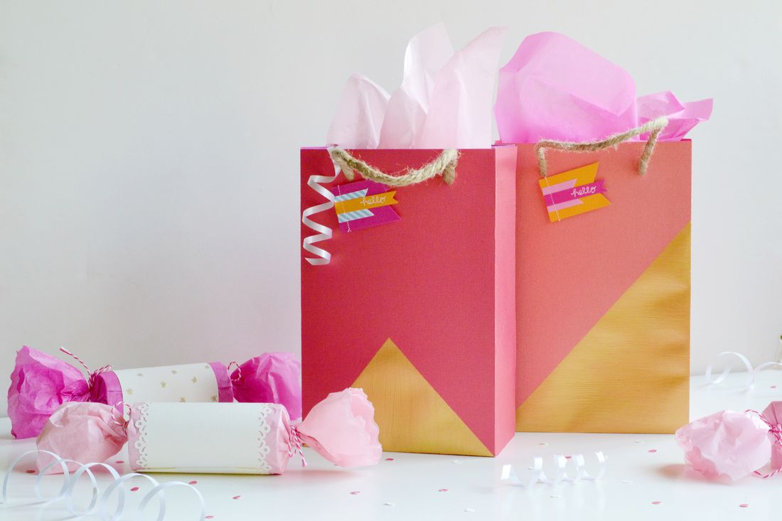 How to make scrapbook paper - Create Scrapbook Paper Gift Bags Via Spark Chemistry Party Ideas Partyfavors