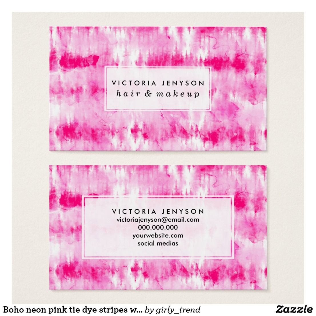 Boho neon pink tie dye stripes watercolor business card | Watercolor ...