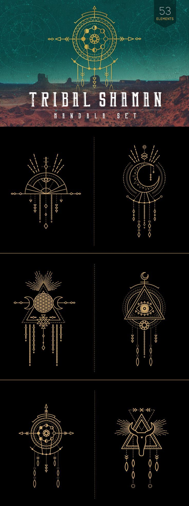 This # tribal-inspired # mandala set combines elements of the #earth, # moon…