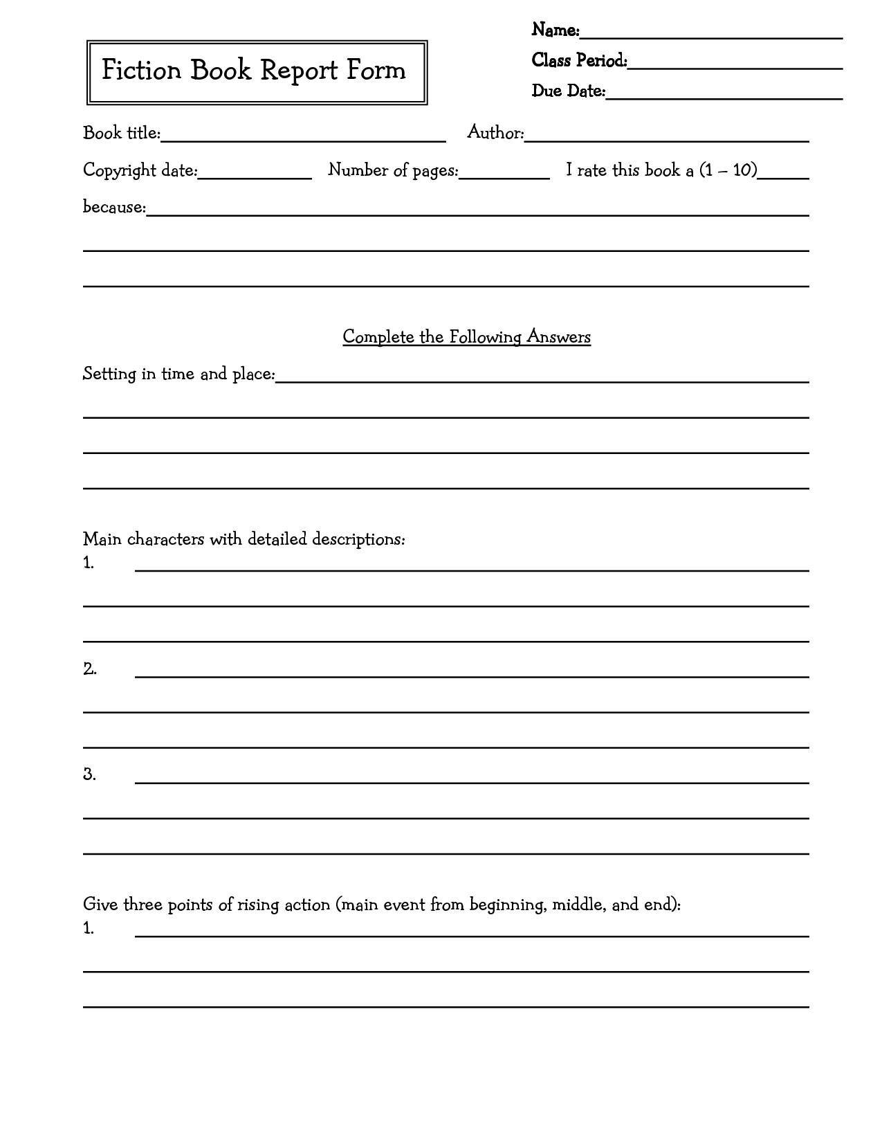 6th grade book report Book report form for 1st through 3rd graders having kids complete book reports is just one of the ways we can check if they are understanding what they are reading i created this free 1st grade through 3rd grade book report to make it fun and easy to see how my child is doing.