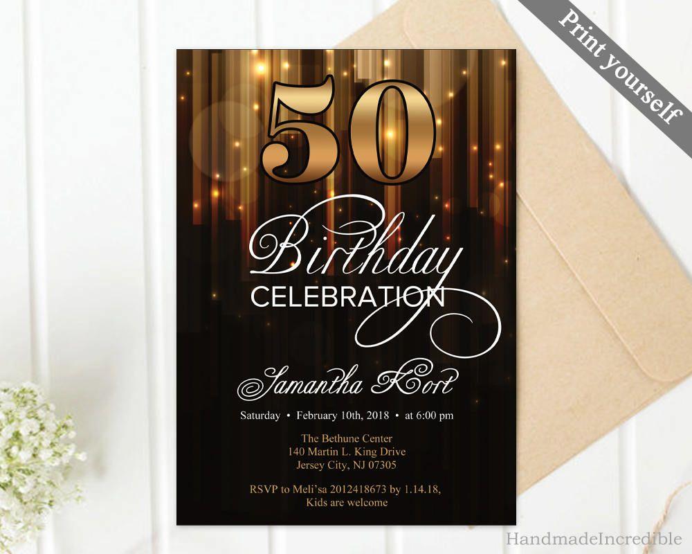 black 50th birthday invitation template