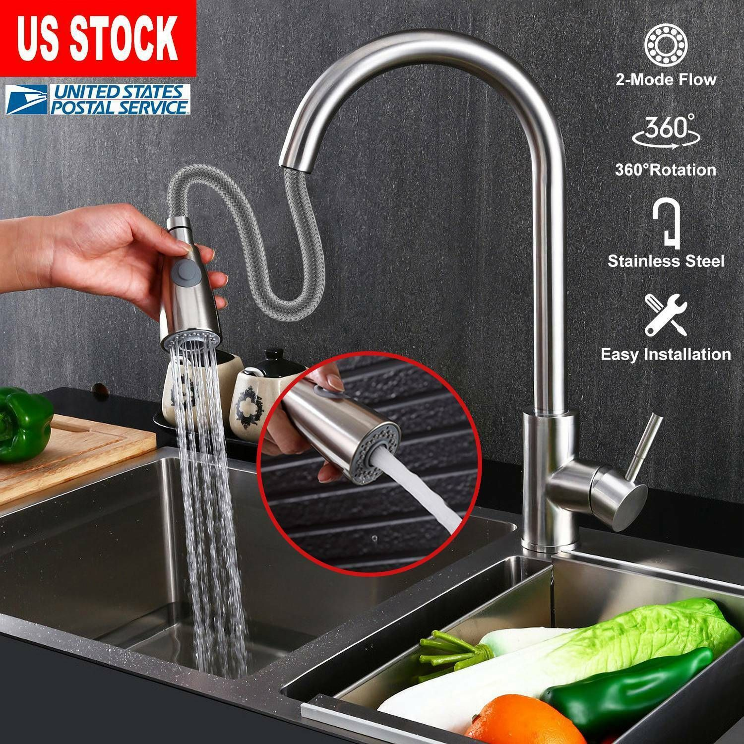 Flexible Pullout Sprayer Single Handle Mixer Kitchen Sink Faucet