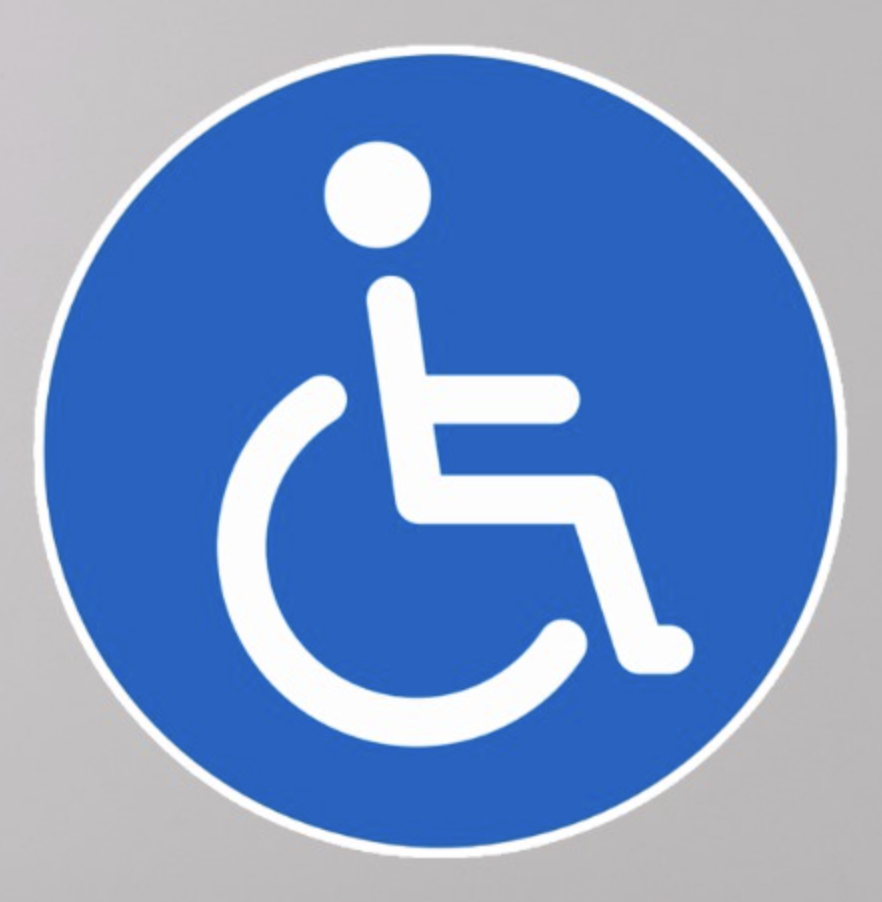 Blue disabled symbol round stickers round stickers featuring the classic disabled symbol a man in a wheelchair on a blue background