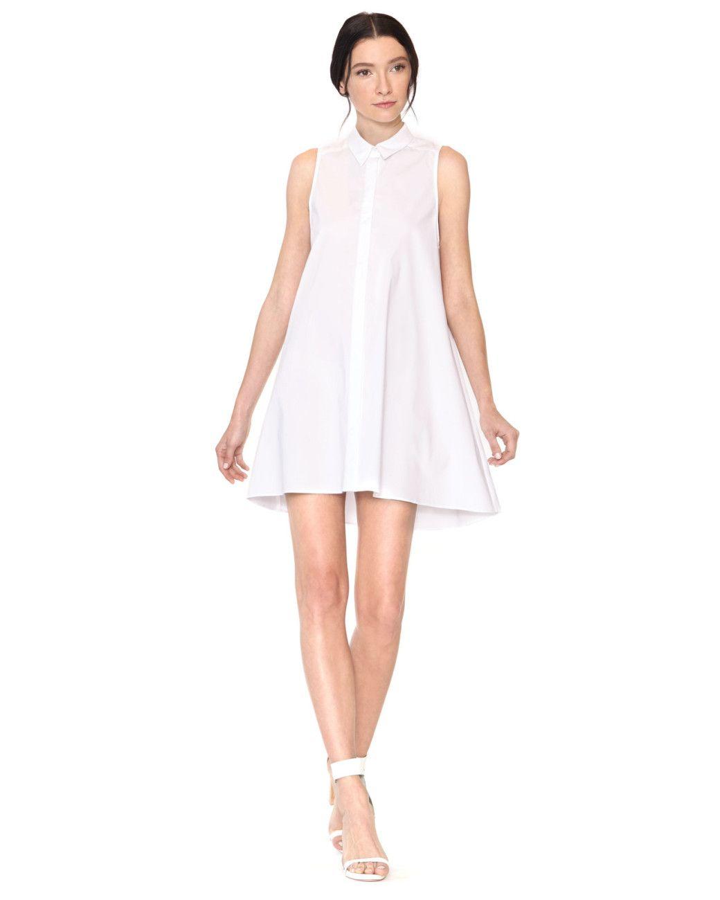 Womens White Amya Flared Aline Shirt Dress Dresses Skirts