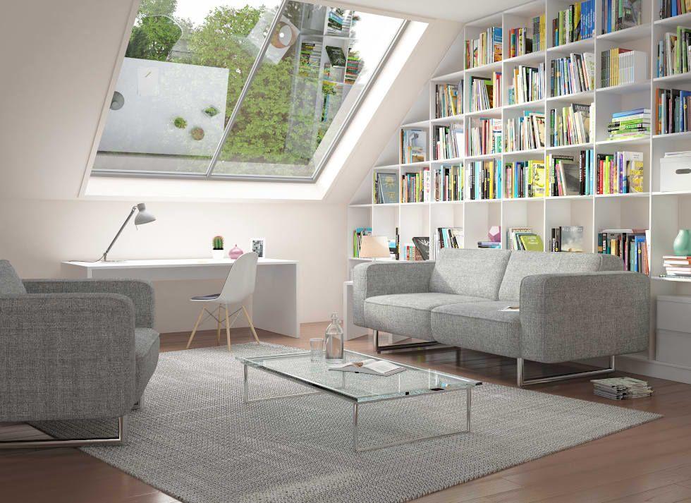 wei es regal unter der dachschr gen wohnzimmer von. Black Bedroom Furniture Sets. Home Design Ideas