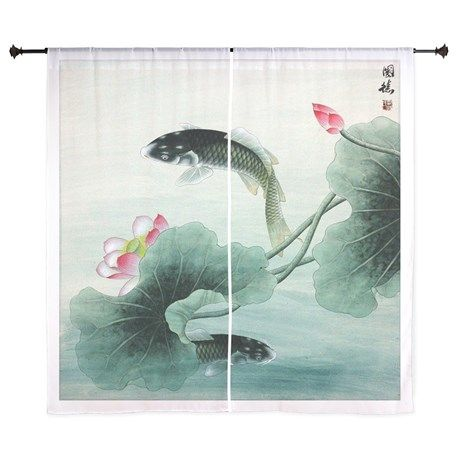 Koi Fish and Lotus Flowers cool Curtains on CafePress.com