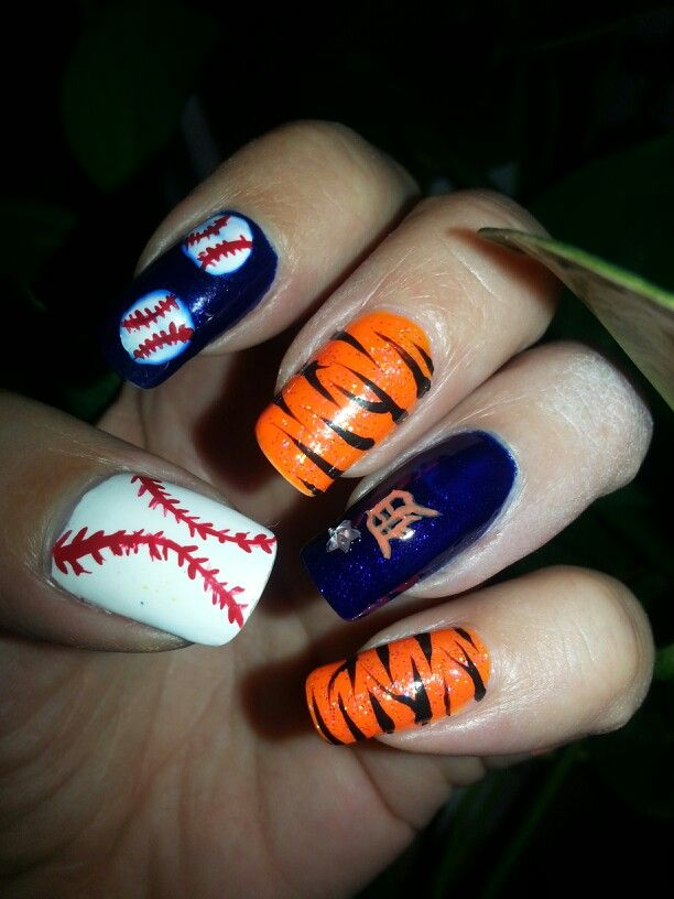 detroit tigers nail art amateur