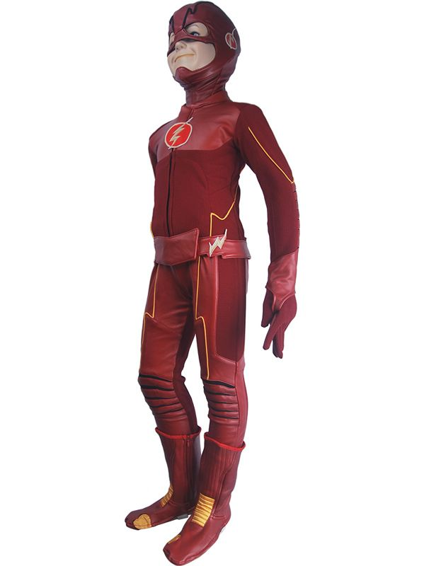 Kids Children The Flash Season 4 Barry Allen Flash cosplay costume deluxe halloween costume superhero outfit  sc 1 st  Pinterest : childrens flash costume  - Germanpascual.Com