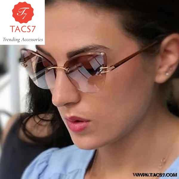 6b75732d00d Cat Eye Sunglasses Women Rimless Trending Accessories