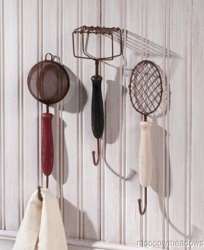 Retro Kitchen Hooks: New Vintage Kitchen Utensil Wall Hooks Hangers Towel Faux