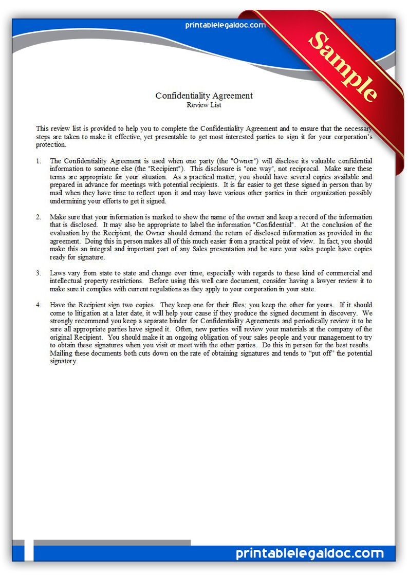 Free Printable Confidentiality Agreement Legal Forms | Free Legal ...