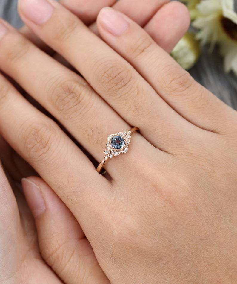 Lab Alexandrite Engagement Ring Vintage Diamond Cluster Ring Etsy In 2020 Alexandrite Engagement Ring Vintage Engagement Rings Unique Engagement Rings