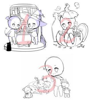 Halloween Chibi YCH (2/3 OPEN) by Haruee