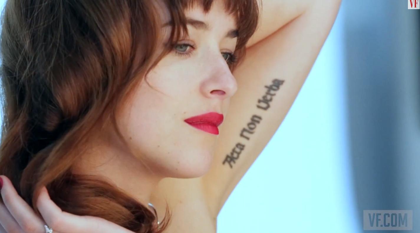 0514666ebcabf Fifty Shades of Grey   Dakota Johnson's photoshoot for Vanity Fair   tattoo  placement