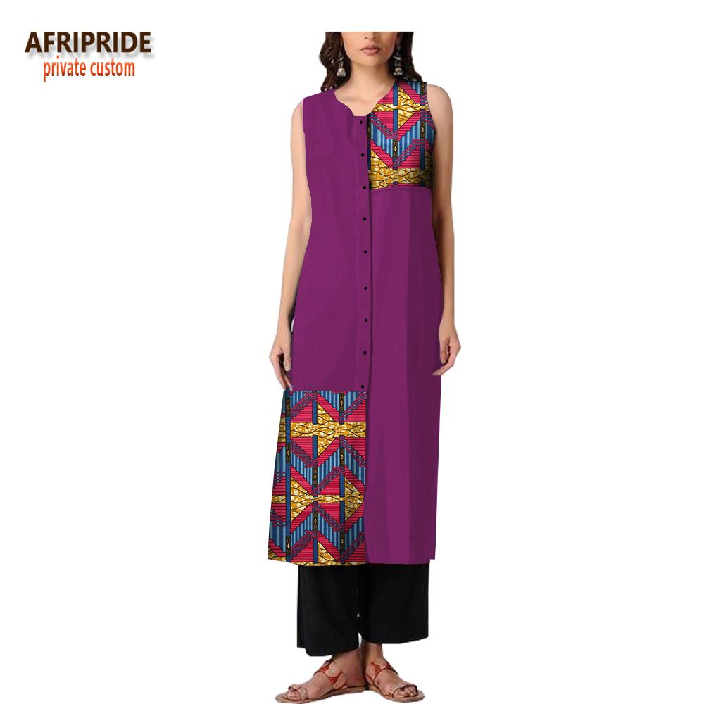 77273cf098b 2018 summer women cotton dress AFRIPRIDE sleeveless v neck mid calf length  single breasted straight dress for women A1825049-in Dresses from Women s  ...